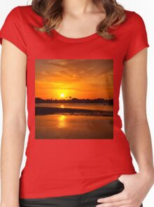 Bright gold sunset Women's Fitted Scoop T-Shirt