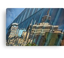 Streetscape Reflected on Surface of the AGO Canvas Print