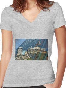 Streetscape Reflected on Surface of the AGO Women's Fitted V-Neck T-Shirt