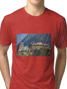 Streetscape Reflected on Surface of the AGO Tri-blend T-Shirt
