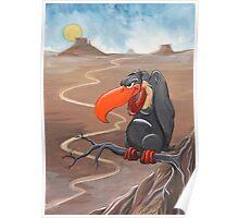 Vulture standing guard over desert Poster