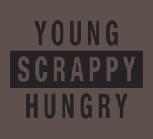 Young Scrappy and Hungry - Black Type on White One Piece - Short Sleeve