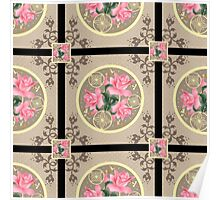 Seamless texture patchwork with roses Poster