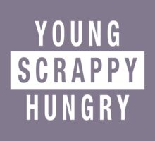 Young Scrappy and Hungry - White Type on Black Kids Tee