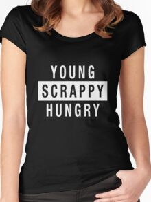 Young Scrappy and Hungry - White Type on Black Women's Fitted Scoop T-Shirt