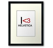 I <3 helvetica love type graphic design Framed Print