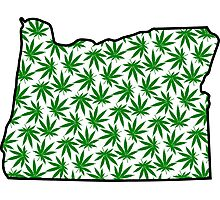 Oregon (OR) Weed Leaf Pattern Photographic Print