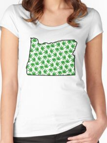Oregon (OR) Weed Leaf Pattern Women's Fitted Scoop T-Shirt