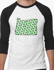 Oregon (OR) Weed Leaf Pattern Men's Baseball ¾ T-Shirt