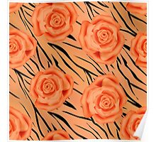 Seamless texture style tiger orange background with roses.  Poster
