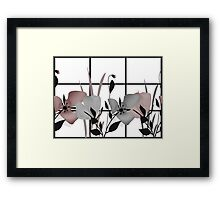 Seamless texture of gray and pink flowers Framed Print