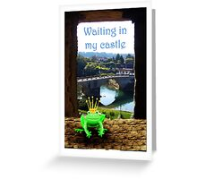 Frog waiting in castle with crown, humor. Greeting Card