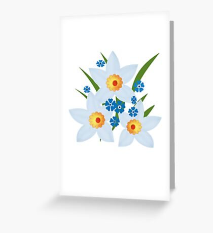 Illustration of daffodils, spring flowers. Greeting Card