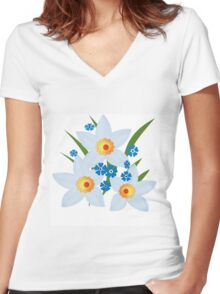 Illustration of daffodils, spring flowers. Women's Fitted V-Neck T-Shirt