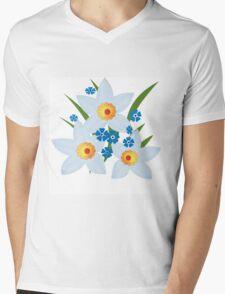 Illustration of daffodils, spring flowers. Mens V-Neck T-Shirt