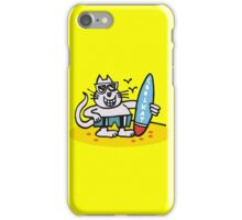 Cool cartoon cat on beach holding surfboard iPhone Case/Skin