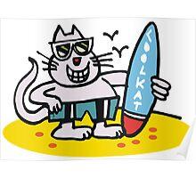 Cool cartoon cat on beach holding surfboard Poster