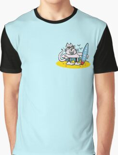 Cool cartoon cat on beach holding surfboard Graphic T-Shirt
