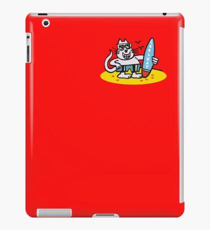 Cool cartoon cat on beach holding surfboard iPad Case/Skin