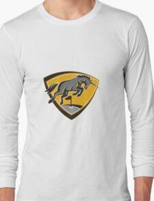 Black Unicorn Horse Charging Golf Course Retro Long Sleeve T-Shirt