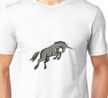 Black Unicorn Horse Charging Isolated Retro Unisex T-Shirt