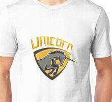 Black Unicorn Horse Head Charging Crest Retro Unisex T-Shirt
