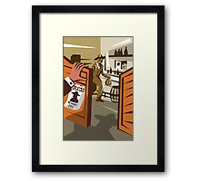 Cowboy Robber Stealing Saloon Poster Framed Print