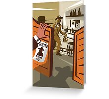 Cowboy Robber Stealing Saloon Poster Greeting Card