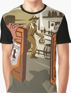 Cowboy Robber Stealing Saloon Poster Graphic T-Shirt