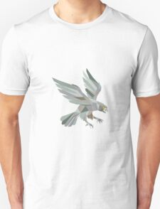 Peregrine Falcon Swooping Grey Low Polygon Unisex T-Shirt