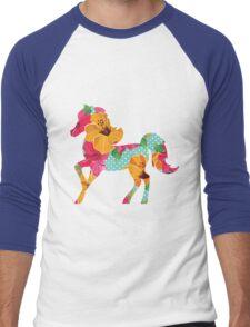 Horse illustration with flowers Men's Baseball ¾ T-Shirt