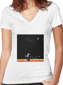 Mulder and scully baseball under the stars Women's Fitted V-Neck T-Shirt