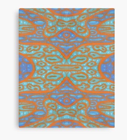 Orange and blue abstract pattern in eastern style Canvas Print