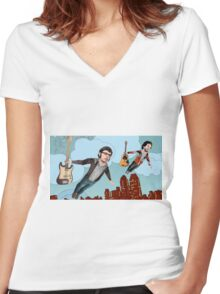 Flight Of The Conchords - Flying Women's Fitted V-Neck T-Shirt