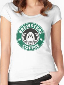 Brewsters Coffee (distressed) Women's Fitted Scoop T-Shirt