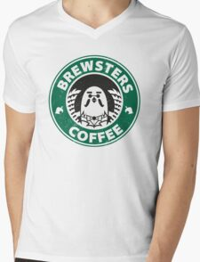 Brewsters Coffee (distressed) Mens V-Neck T-Shirt
