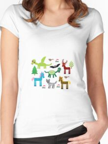 Seamless pattern with funny dragons, bats, unicorn, horse, deer, bird, wolf Women's Fitted Scoop T-Shirt