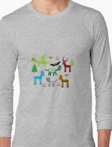 Seamless pattern with funny dragons, bats, unicorn, horse, deer, bird, wolf Long Sleeve T-Shirt
