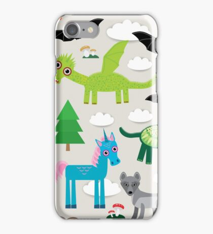 Seamless pattern with funny dragons, bats, unicorn, horse, deer, bird, wolf iPhone Case/Skin