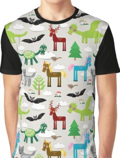 Seamless pattern with funny dragons, bats, unicorn, horse, deer, bird, wolf Graphic T-Shirt