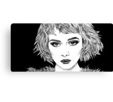 'Anna' Classic Cinematic Fashion Portrait, Ink Canvas Print