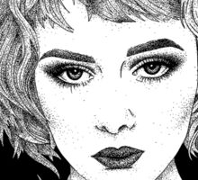 'Anna' Classic Cinematic Fashion Portrait, Ink Sticker