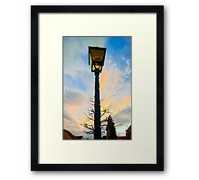 Old -style yellow street lamp over sunset sky background, french countryside Framed Print