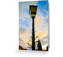 Old -style yellow street lamp over sunset sky background, french countryside Greeting Card