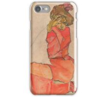 Egon Schiele - Kneeling Female in Orange-Red Dress 1910 Woman Portrait iPhone Case/Skin