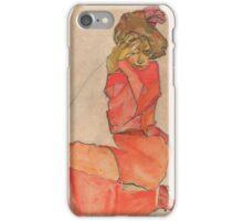 Egon Schiele - Kneeling Female in Orange-Red Dress 1910 Woman Portrait iPhone Case/Skin