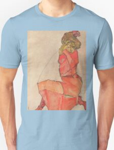 Egon Schiele - Kneeling Female in Orange-Red Dress 1910 Woman Portrait Unisex T-Shirt