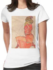 Egon Schiele - Kneeling Female in Orange-Red Dress 1910 Woman Portrait Womens Fitted T-Shirt