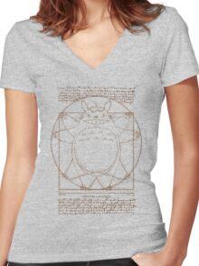 Vitruvian Neighbor Women's Fitted V-Neck T-Shirt