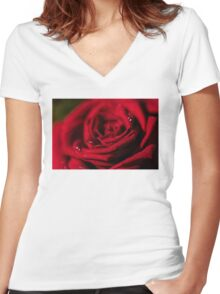 Dark red rose- close up Women's Fitted V-Neck T-Shirt